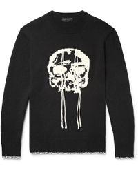 Alexander McQueen - Slim-fit Skull-intarsia Wool Sweater - Lyst