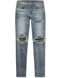 Amiri - Mx1 Skinny-fit Camouflage Print-panelled Distressed Stretch-denim Jeans - Lyst