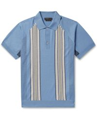 Prada - Slim-fit Striped Virgin Wool Polo Shirt - Lyst