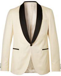 BOSS | White Nemir Slim-fit Wool And Silk-blend Tuxedo Jacket | Lyst