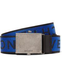 Givenchy - 3.5cm Leather-trimmed Logo-jacquard Webbing Belt - Lyst