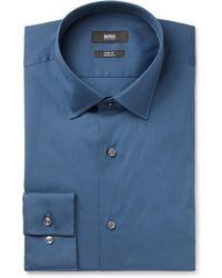 BOSS - Jenno Navy Slim-fit Cotton-blend Shirt - Lyst
