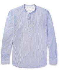 Officine Generale - Auguste Grandad-collar Striped Cotton Shirt - Lyst