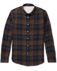 Officine Generale - Checked Stretch-cotton Shirt - Lyst