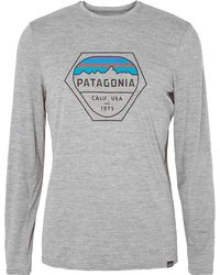 Patagonia - Printed Mélange Capilene Jersey T-shirt - Lyst