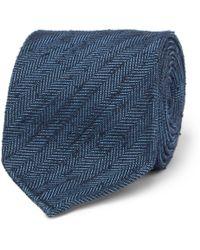 Drake's - 8cm Herringbone Slub Silk Tie - Lyst