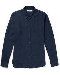 Kier Grandad-collar Linen Shirt - Army greenTheory Réduction Vente En Ligne zswO8q6