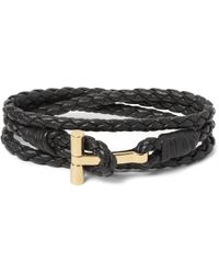 Tom Ford - Woven Leather Gold-plated Wrap Bracelet - Lyst