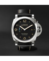 Officine Panerai - Luminor Marina 1950 3 Days Acciaio 44mm Stainless Steel And Leather Watch - Lyst