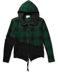 Greg Lauren - Panelled Distressed Cotton-jersey And Wool-fleece Zip-up Hoodie - Lyst