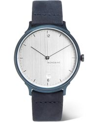 Mondaine - Helvetica No1 Light Brushed Stainless Steel And Suede Watch - Lyst
