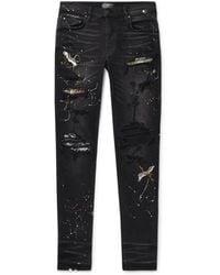 Amiri Skinny-fit Appliquéd Paint-splattered Distressed Stretch-denim Jeans - Black