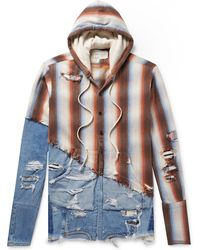 Greg Lauren - Panelled Distressed Denim And Striped Cotton-twill Hoodie - Lyst