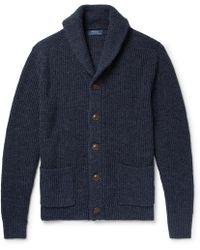 Polo Ralph Lauren - Shawl-collar Mélange Cotton And Linen-blend Cardigan - Lyst