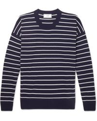 AMI - Oversized Striped Cotton Jumper - Lyst