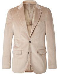 Loro Piana - Beige Andorra Slim-fit Stretch-cotton And Cashmere-blend Corduroy Blazer - Lyst