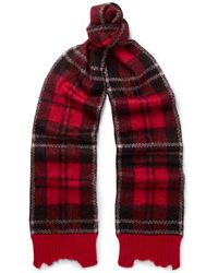 Alexander McQueen - Checked Brushed Mohair-blend Scarf - Lyst