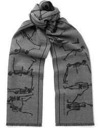 Alexander McQueen - Fringed Intarsia Felted Wool Scarf - Lyst