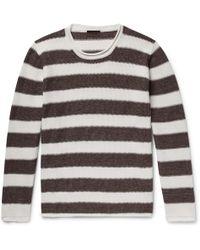 Altea - Striped Linen And Cotton-blend Jumper - Lyst