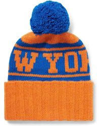 The Elder Statesman - - Nba Knicks Intarsia Bobble Hat - Orange - Lyst
