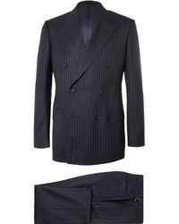 Kingsman - Navy Harry Slim-fit Pinstriped Super 120s Wool And Cashmere-blend Suit - Lyst