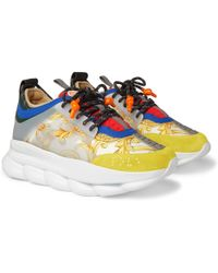 Versace - Chain Reaction Panelled Canvas Sneakers - Lyst