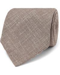 Drake's - 8cm Woven Mélange Wool, Silk And Linen-blend Tie - Lyst