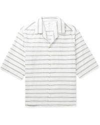 JOSEPH - Camp-collar Embroidered Striped Cotton-poplin Shirt - Lyst