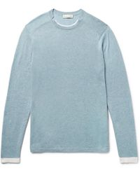 Etro - Slim-fit Contrast-tipped Mélange Cotton And Cashmere-blend Sweater - Lyst
