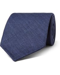 Thom Sweeney - 8cm Herringbone Wool, Silk And Linen-blend Tie - Lyst