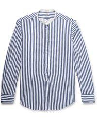 Massimo Alba - Kos Grandad-collar Striped Cotton-jacquard Half-placket Shirt - Lyst