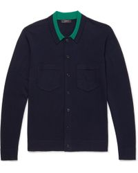 JOSEPH - Slim-fit Contrast-trimmed Merino Wool Cardigan - Lyst