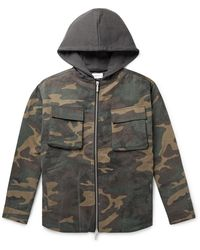 Rhude Jersey-trimmed Camouflage-print Cotton-twill Hooded Jacket - Green