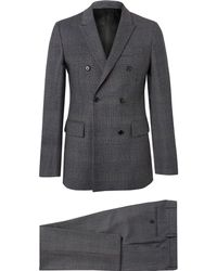 CALVIN KLEIN 205W39NYC - Charcoal Slim-fit Double-breasted Prince Of Wales Checked Wool Suit - Lyst