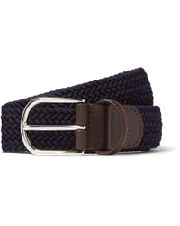 Andersons   3.5cm Midnight-blue Woven Waxed-cord Belt   Lyst