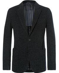 Giorgio Armani - Midnight-blue Slim-fit Upton Unstructured Mélange Bouclé Blazer - Lyst