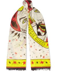 Gucci - Printed Cotton Scarf - Lyst