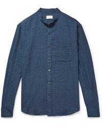 Club Monaco - Slim-fit Grandad-collar Checked Textured Stretch-cotton Shirt - Lyst