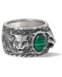 Gucci - Burnished Sterling Silver Malachite Ring - Lyst