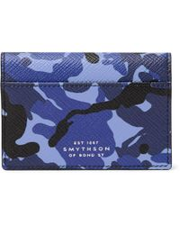 Smythson - Panama Camouflage-print Cross-grain Leather Bifold Cardholder - Lyst