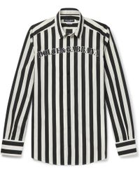 Dolce & Gabbana - Slim-fit Logo-print Striped Cotton-poplin Shirt - Lyst