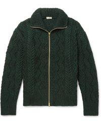 Camoshita - Cable-knit Wool Zip-up Cardigan - Lyst