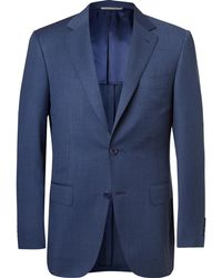 Canali - Navy Slim-fit Mélange Wool Suit Jacket - Lyst