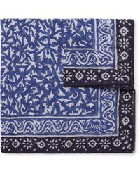 Drake's - Batik Printed Cotton, Modal And Cashmere-blend Pocket Square - Lyst