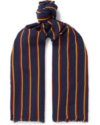 Drake's - Striped Voile Scarf - Lyst