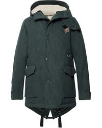 Lanvin - Appliquéd Cotton-twill Hooded Parka With Detachable Faux Shearling Lining - Lyst