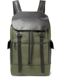 Bottega Veneta - Sassolungo Nylon-canvas And Intrecciato Leather Backpack - Lyst