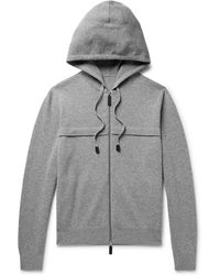 Berluti - Leather-trimmed Knitted Zip-up Hoodie - Lyst