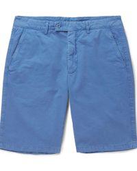 Aspesi - Slim-fit Washed Cotton-twill Shorts - Lyst