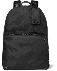 Valentino | - Leather-trimmed Camouflage-jacquard Shell Backpack - Black | Lyst